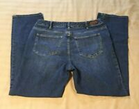 Women's Lands' End Fit 2 Straight Leg Blue Jeans Size 14 W (#575)