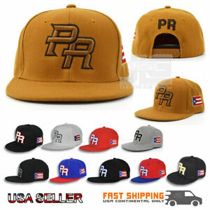 Puerto Rico Snap back Hat Flag 3D PR Flat Bill Rico Baseball Acrylic Cap NEW
