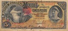 México  5  Pesos  1.1.1908  S 257c  Series  M / P  Circulated Check SSM