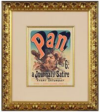 "Jules Cheret - ""Pan"" (Plate 81 ), antique stone lithograph, Framed"