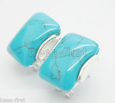 New Style Sterling Silver 925 Rectangle Turquoise Stud Earrings 17X19mm