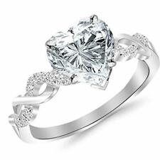 Pave Heart Design in 925 Ss Sterling Silver Twisting Infinity Split Shank