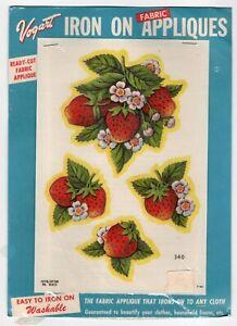 Vintage Vogart 1953 Iron Fabric Appliques Unused In Wrapper Strawberries