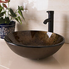 Artistic Bathroom Glass Vessel Sink Bowl Basin W/ Oil Rubbed Bronze Faucet Drain