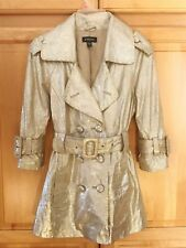 *bebe LEATHER TRENCH COAT / METALLIC GOLD/SILVER / X-SMALL / PERFECT CONDITION!*