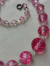 Graduated Vintage Pink and White Faceted Crystal Necklace, 17 ins long
