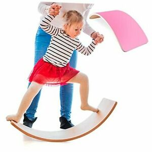 Wooden Balance Board Wobble Curvy Board for Kids Toddlers Toy, 33 Inch Pink