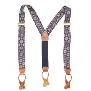 Mens Woven Silk Braces Suspenders Blue Gold Ornate Mosaic Weave Leather Tabs