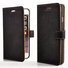 SURAZO® Premium Echtes Ledertasche Schutzhülle Wallet Flip Case Nubuk - Schwarz