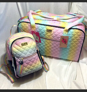 LUV BETSEY JOHNSON Weekender Tote Bag Back Pack Set Quilted Rainbow Hearts $196.