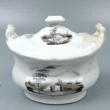 Rare Tucker & Hemphill Porcelain Sugar Jar w Lid Grisaille American Philadelphia