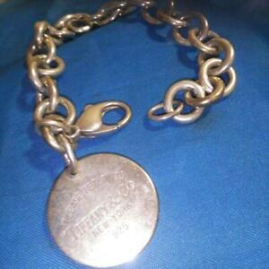 Tiffany & Co. Women's Jewelry Bracelet Silver Lace Plate Charm Used m253