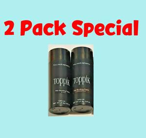 TOPPIK Hair Building Fibers ⭐⭐ 2 Pack ⭐ Dark Brown Black Medium Light ⭐⭐ 27.5 g