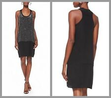 Eileen Fisher Medium Black Rivulet Silk Racerback Tunic Dress Lined