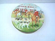 "Vintage Ruth Hunt Candies Tin Box Riders & Hounds Fox Hunt Scene 6 1/2"" diameter"