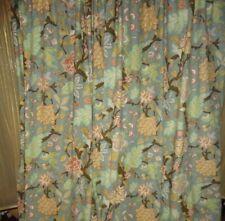 WORLD MARKET ARPELLA BLUE GREEN BROWN CINNAMON FLORAL (2) SHORT PANELS 48 X 49