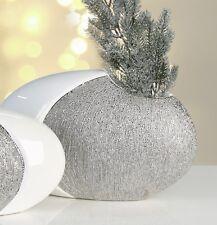 Moderne Deko Vase Blumenvase Prime oval aus Keramik weiß/silber Breite 28 cm H17