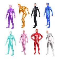 Shiny Metallic Lycra/Spandex Zentai Catsuit Body Suit Open Face -- Back Zipper