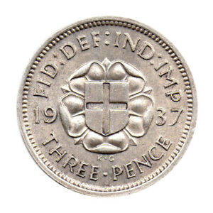 KM# 848 - Three Pence - Silver (.500) - George VI - Great Britain 1937 (EF)