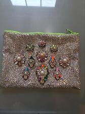 NWOT Glitter And Rhinestone Gem Multi Color Statement Clutch Handbag