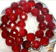 charm Natural AAA 10mm Faceted Red Ruby Gemstone Round Loose Bead 15''AAA