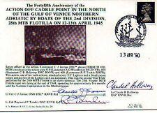 28th MTB FLOTILLA NAVY SIGNED 1945 CAORLE POINT 3 SIGS
