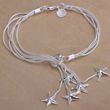 Wholesale Fashion 925Sterling Solid Silver Jewelry 2 Chain Star Bracelet H099