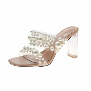 New Women High Heels Transparent Pvc String Bead Shoes Fashion Open Toe Slippers