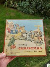 More details for stunning vintage cws christmas biscuits tin