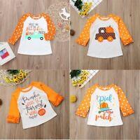 Toddler Baby Kid Girl Ruffle Letter Pumpkin Top Ruffle T-Shirt Halloween Clothes