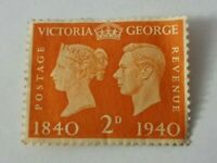 2d, Queen Victoria, King George VI Postage Revenue Stamp 1840/1940. Royal Stamp