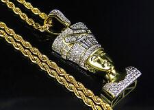 "Queen Nefertiti Pendant Yellow Gold Finish Lab Diamond1.5"" With Rope Chain Brass"