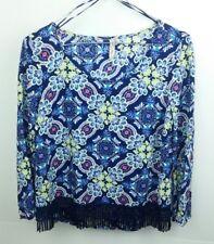 Red Camel Women's Size XS Shirt Navy Blue Purple Tribal Medallion Fringe Rayon