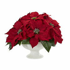 Nearly Natural Artificial Poinsettia Arrangement In Urn Floral Home Decor