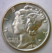 1943 Silver Mercury Dime Winged Head Uncirculated US Ten Cent Coin 10c