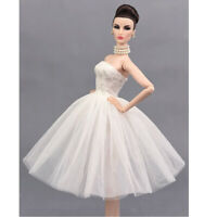 1/6 Charming Tube Top Wedding Dress for  Doll Dress Up Decor White