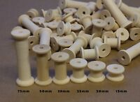 70 Wooden Bobbins Spools Pack Sewing Cotton Reels Ribbon Craft Includes 75mm
