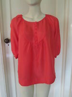 M&S LIMITED COLLECTION 100% SILK CORAL TOP, SIZE 14 EURO 42, BRAND NEW