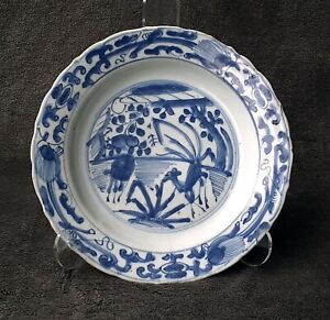 Ming Wanli Kraak porcelain dish - Deer in landscape