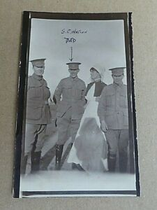 WW1 AIF  AUSTRALIAN ARMY MEDICAL CORPS SOLDIER & NURSES PHOTO NAMED S.C NATION