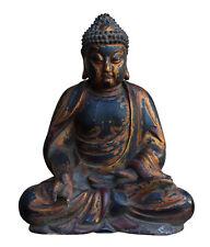 Chinese Golden Brown Wooden Meditation Sitting Buddha Statue cs3123