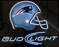 "New England Patriots NFL Helmet Beer Real Glass Neon Sign 20""x16"""