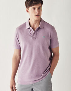 New Crew Clothing Mens Classic Pique Polo Shirt in Purple
