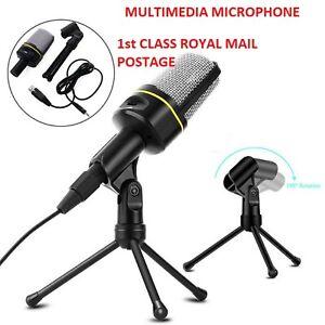 3.5mm Condenser Studio Microphone Mic Kit + Stand Tripod For PC Phone Desktop UK