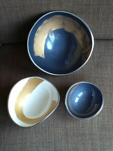 Set of 3 Metal Decorative Bowls. Blue, White and Gold Colours