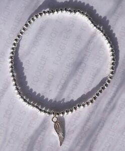 HANDMADE SILVER PLATED STACKING STRETCH BEAD BRACELET ANGEL WING CHARM (001)