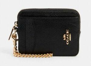 COACH 6303 Zip Card Case Wallet Canvas Logo Coin Gold Chain IM/BLACK NWT