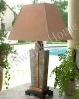Gorgeous STONE and COPPER Table LAMP Indoor Outdoor Patio Art Deco Horchow Luxe
