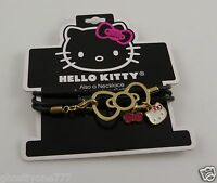 Hello Kitty  Sanrio bracelet or necklace goldtone black rubber