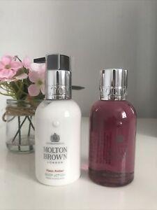 Molton Brown Fiery Pink Pepper Bath & Shower 100ml, Neon Amber Body Lotion 100ml